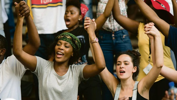 Women – such as these at the University of Pretoria – took the lead in the #FeesMustFall protests, which happened shortly after the Hiddingh Campus protest that spoke out against harassment at the hands of men within the movement. PHOTO: HERMAN VERWEY
