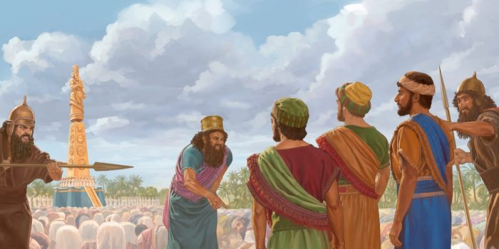Kneel or Die! King Nebuchadnezzar threatens the Jewish youth.
